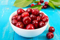 Ripe red cherry berries in a white ceramic bowl Royalty Free Stock Photo