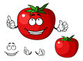 Ripe red happy tomato vegetable with a big smile and green stalk cartoon illustration Royalty Free Stock Images