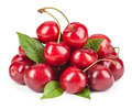 Ripe ripe cherries isolated on white background Royalty Free Stock Photo
