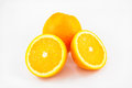 Ripe round oranges on white backgroud fruiton isolated Stock Photo