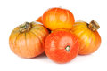 Ripe small pumpkins on white background Stock Images