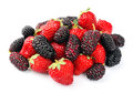 Ripe strawberry and mulberry on white background berries mix Royalty Free Stock Image