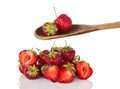 Ripe strawberry in wooden spoon Royalty Free Stock Photo