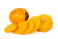 Ripe Sweet persimmon with slices on white Stock Images
