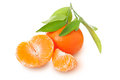 Ripe  tangerine with leaves Stock Image
