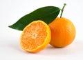 Ripe tangerines on white background Royalty Free Stock Photo