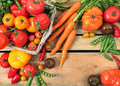 Ripe vegetables on wooden table Stock Image