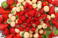 Ripe white and red strawberries on plate background Stock Photos