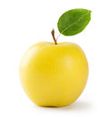Ripe yellow apple with leaf Royalty Free Stock Photo