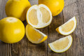 Ripe yellow grapefruit a on wood table Royalty Free Stock Photography