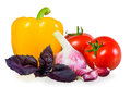 Ripened crop of vegetables on white background Stock Images