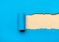 Ripped blue paper with milky space for message Royalty Free Stock Image