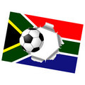 Ripped flag with soccer ball Stock Image
