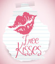 Ripped Paper Offering Free Kisses, Vector Illustration