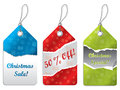 Ripped torn christmas label set three Royalty Free Stock Photo