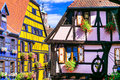 Riquewihr in France -romantic medieval city on the Alsace wine r Royalty Free Stock Photo