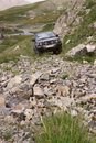 Rise uphill on the car. Kyrgizstan. Royalty Free Stock Images