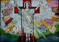 Risen Jesus Christ colorful artwork in glass Royalty Free Stock Photo