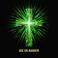He is risen. Shining cross. Easter background. Vector illustration