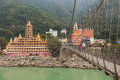 RISHIKESH, INDIA - JAN 03: Bridge over Ganga River on January 03 Royalty Free Stock Photo