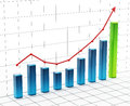 Rising bar graph on grid. 3D illustration Royalty Free Stock Photo