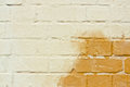Rising damp weathered brick wall showing a patch Royalty Free Stock Image