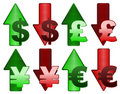 Rising and falling currency Royalty Free Stock Photo