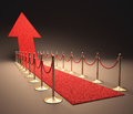 Rising fame red carpet arrow shaped concept of success and growth Stock Photography
