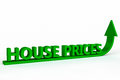 Rising house prices the words with a green arrow pointing in an up direction Stock Photos