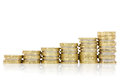 Rising silver and gold  coins stairs Royalty Free Stock Photo