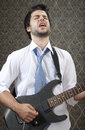 Rising star young rock is singing Royalty Free Stock Image
