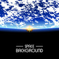 Rising Sun over the planet earth. space background Royalty Free Stock Photo