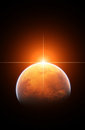 Rising Sun with Planet Mars Royalty Free Stock Image