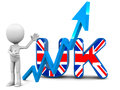 Rising uk united kingdom little d man presenting growing graph on white background Royalty Free Stock Photography