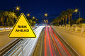 Risk ahead sign showing business concept Stock Photo