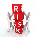 Risk concept box d render and two people close up Royalty Free Stock Photos