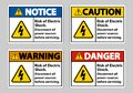 Risk of electric shock Symbol Sign Isolate on White Background Royalty Free Stock Photo