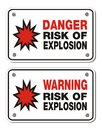 Risk of explosion rectangle sign suitable for warning signs Royalty Free Stock Photo