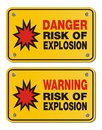 Risk of explosion rectangle yellow signs suitable for warning Stock Photos
