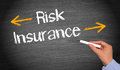 Risk and insurance text in white letters on black chalkboard with a yellow arrow pointing down for another up after Stock Photo