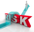 Risk Jumping Over Word Avoiding Danger Hazards Stock Photo