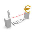 Risk man adn euro with text Royalty Free Stock Photos