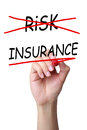 Risk management concept insurance instead of drawn with red mark on transparent board Stock Image