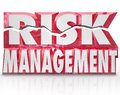 Risk management d words reducing danger minimize liability the in red letters to illustrate the need to and increase security and Stock Photo