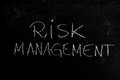 Risk management handwritten chalk text on the blackboard Stock Images