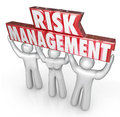 Risk management people team lift words limit liability lifted by of or workers to illustrate a company or oranization s commitment Stock Photography
