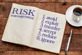 Risk management strategies in notebook avoid exploit transfer accept reduce ignore handwriting an old with a cup of coffee against Royalty Free Stock Photography