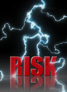 Risk management thunder lightening bolts striking the word Royalty Free Stock Photography