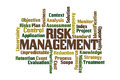 Risk management word cloud on white background Royalty Free Stock Photos