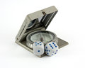 Risk in orientation and planing compass gamble dice as symbol of Royalty Free Stock Photography